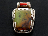Turquoise, Coral & Sterling Silver Tibetan Pendant 32mm (TB603)