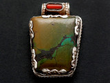 Turquoise, Coral & Sterling Silver Tibetan Pendant 35mm (TB604)