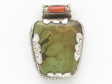 Turquoise, Coral & Sterling Silver Tibetan Pendant 34mm (TB610)