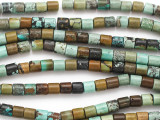 Turquoise Short Cylinder Beads 6mm (TUR1342)