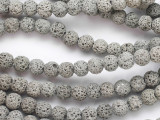 Gray Round Lava Rock Beads 8mm (LAV154)