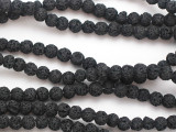 Black Round Lava Rock Beads 6-7mm (LAV155)