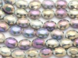 Purple & Sage Oval Crystal Glass Beads 16mm (CRY528)