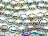Teal & Purple Oval Crystal Glass Beads 16mm (CRY531)