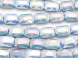 Periwinkle Blue Rectangle Crystal Glass Beads 19mm (CRY533)