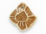 Tan Flower Glazed Ceramic Pendant 40mm (AP2090)