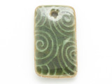 Green Rectangle Glazed Ceramic Pendant 42mm (AP2093)