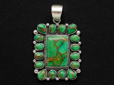 Sterling Silver & Turquoise Southwestern Pendant 50mm (AP2051)