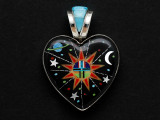 Sterling Silver & Turquoise Cosmic Heart Southwestern Pendant 44mm (AP2052)