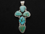 Sterling Silver & Turquoise Cross Southwestern Pendant 61mm (AP2055)