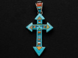 Sterling Silver & Turquoise Cross Southwestern Pendant 53mm (AP2056)