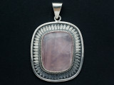Sterling Silver & Rose Quartz Southwestern Pendant 77mm (AP2057)