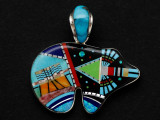 Sterling Silver & Turquoise Bear Southwestern Pendant 42mm (AP2062)
