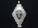 Sterling Silver & Turquoise Cross Southwestern Pendant 75mm (AP2063)