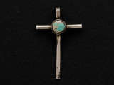 Sterling Silver & Turquoise Cross Southwestern Pendant 40mm (AP2064)