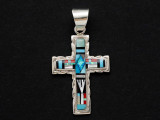 Sterling Silver & Turquoise Cross Southwestern Pendant 43mm (AP2067)