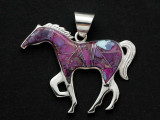 Sterling Silver & Sugalite Horse Southwestern Pendant 45mm (AP2072)