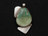 Sterling Silver & Turquoise Southwestern Pendant 34mm (AP2073)