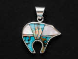 Sterling Silver & Turquoise Bear Southwestern Pendant 28mm (AP2077)