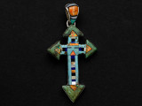 Sterling Silver & Turquoise Cross Southwestern Pendant 54mm (AP2082)