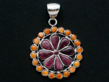 Sterling Silver & Spiny Oyster Southwestern Pendant 39mm (AP2084)