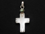 Sterling Silver & Shell Cross Southwestern Pendant 48mm (AP2085)