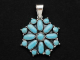 Sterling Silver & Turquoise Southwestern Pendant 32mm (AP2086)