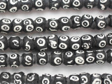 Black & White Rondelle Afghan Glass Beads 8-10mm (AF1871)