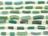 Green Afghan Roman Glass Beads 8-16mm (AF1875)