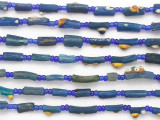Blue Afghan Roman Glass Beads 5-18mm (AF1877)