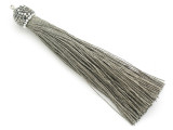 "Gray Rhinestone Thread Tassel - 3.5"" (AP2112)"
