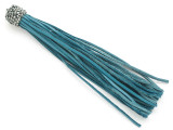 "Teal Blue Rhinestone Leather Tassel - 3.75"" (LR131)"