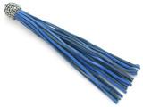 "Blue Rhinestone Leather Tassel - 3.75"" (LR134)"