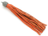 "Orange Rhinestone Leather Tassel - 3.75"" (LR136)"