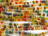 "Transparent Multi-Color Glass Beads - 44"" strand (JV9087)"