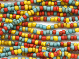 "Red, Blue & Yellow Glass Beads - 44"" strand (JV9088)"