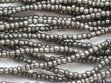"Metallic Silver Glass Beads - 44"" strand (JV9089)"