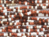 "Brown, Red & White Glass Beads - 44"" strand (JV9090)"
