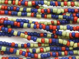 "Blue, Red & Green Glass Beads - 44"" strand (JV9091)"