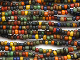 "Dark Multi-Color Glass Beads - 44"" strand (JV9092)"