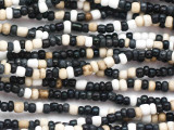"Black, White & Beige Glass Beads - 44"" strand (JV9093)"