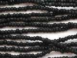 "Matte Black Glass Beads - 44"" strand (JV9094)"