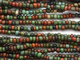 "Dark Green Multi-Color Glass Beads - 44"" strand (JV9095)"