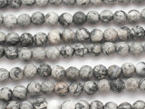 Gray Crazy Lace Agate Faceted Round Gemstone Beads 6mm (GS4866)