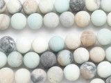 Frosted Matte Black Gold Amazonite Round Gemstone Beads 10mm (GS4867)