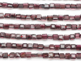 Garnet Faceted Square Gemstone Beads 4mm (GS4879)