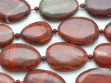 Red Jasper Irregular Oval Tabular Gemstone Beads 28-36mm (GS4897)