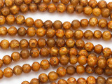Tan & Orange Tibetan Agate Round Gemstone Beads 6mm (GS4898)