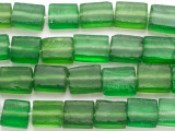 Green Rectangular Recycled Glass Beads 13-18mm - Indonesia (RG679)