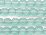 Pale Aqua Round Tabular Recycled Glass Beads 12-15mm - Indonesia (RG683)